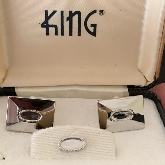 King Other - Vintage Silver Cufflinks & Tie Tack Set